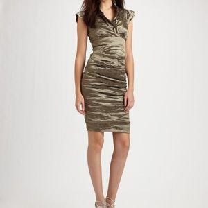 Nicole Miller Metallic Cap Sleeve Bodycon Dress